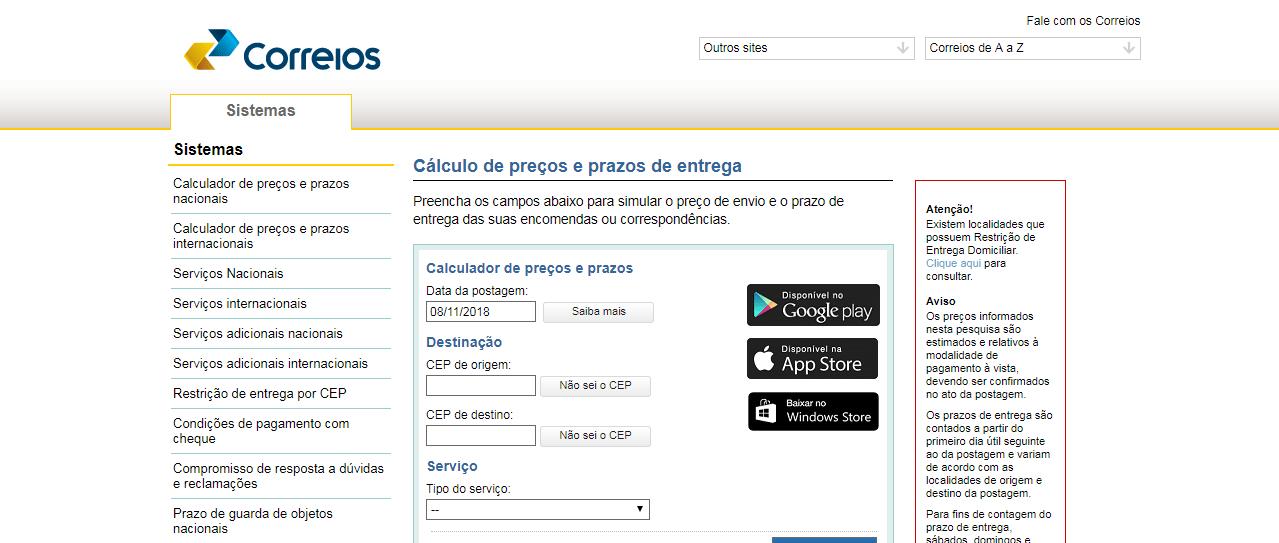 Correio 1 - Como calcular o frete de produtos?