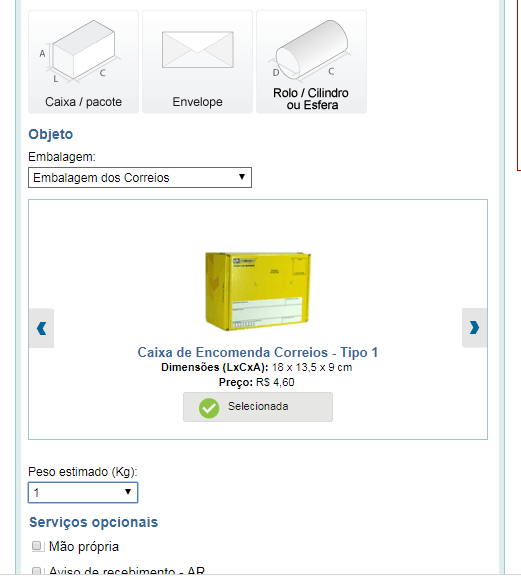 correio 2 - Como calcular o frete de produtos?